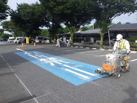 沼田管内 区画線工(道の駅こもち)